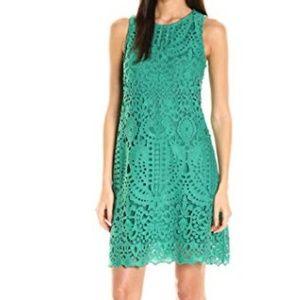 Julia Jordan Sleeveless Green Lace Eyelet Dress
